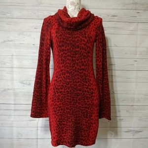 INC Women's Sweater Dress Leopard Print Angora
